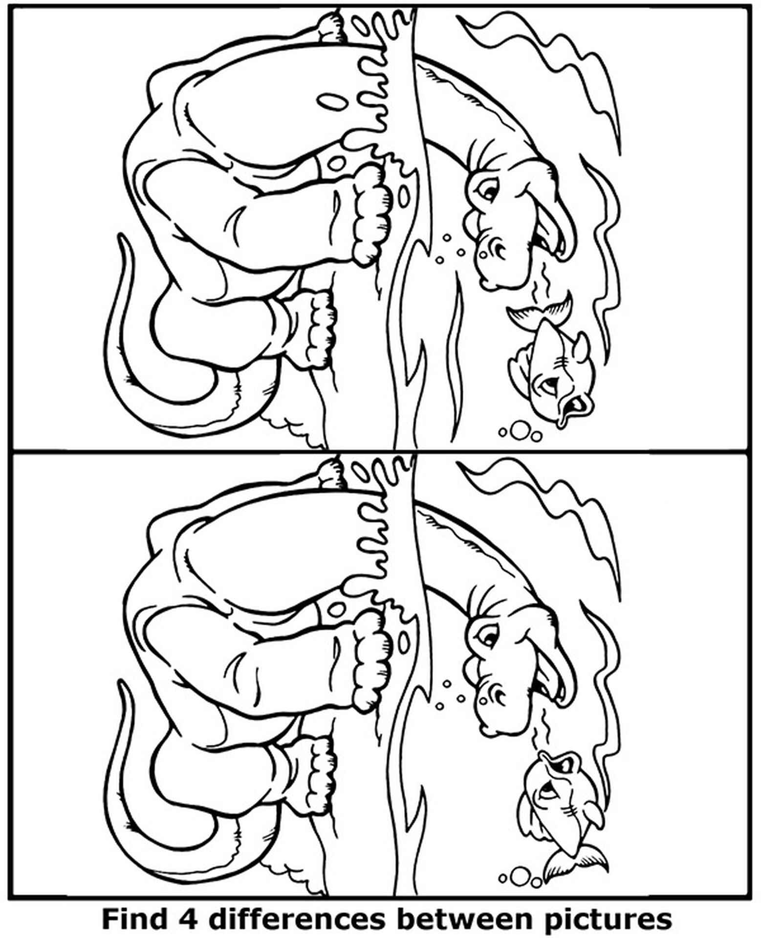 Spot 4 Differences Dinosaur Coloring Page
