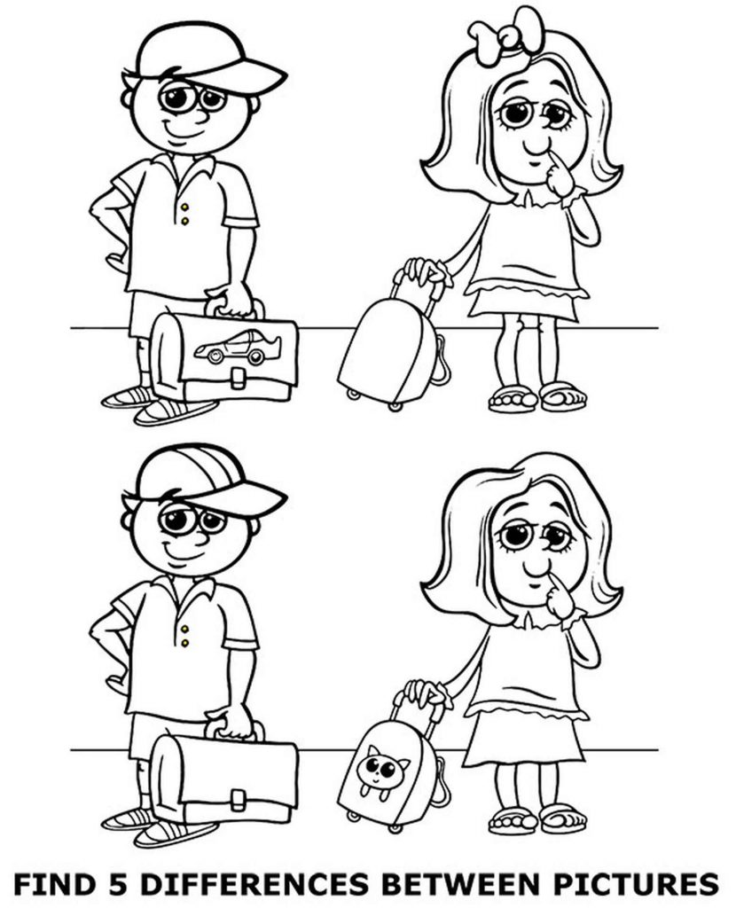 Spot 5 Differences Coloring Page