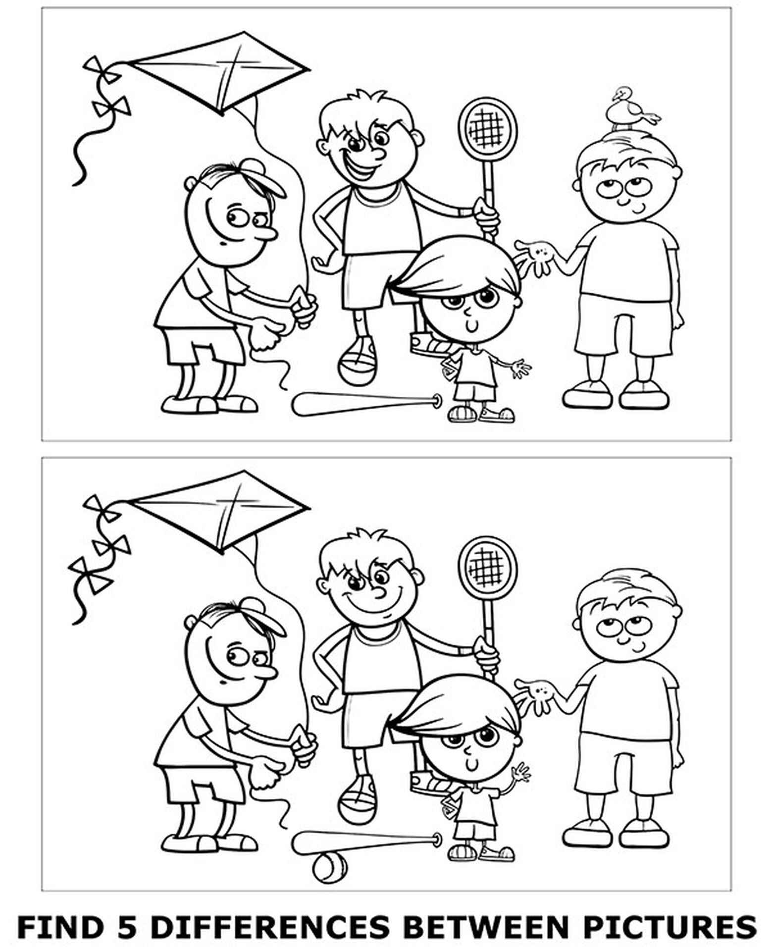 Spot 5 Differences Coloring Page for Kids