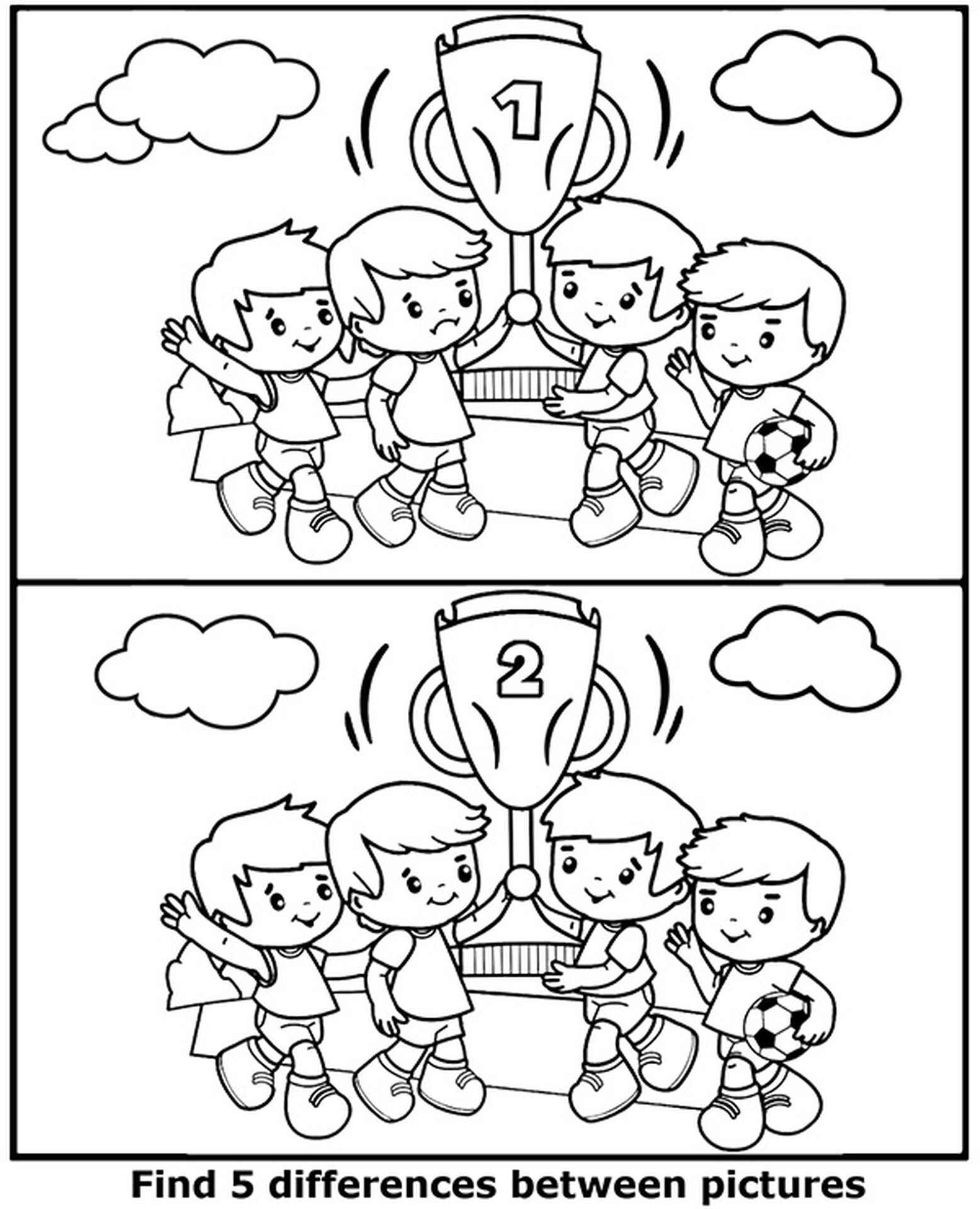 Spot 5 Differences Football Cup Coloring Page