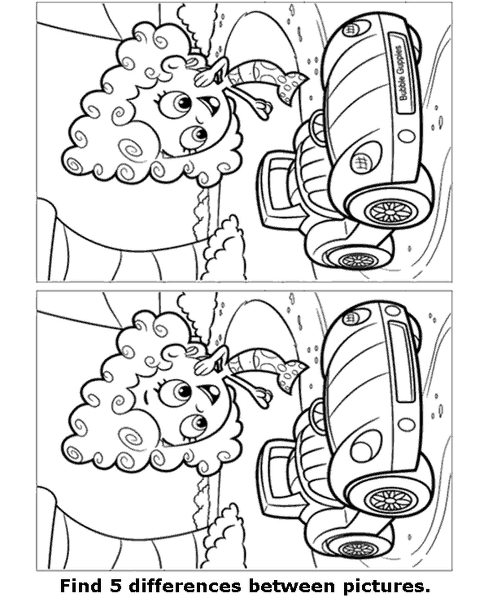 Spot 5 Differences Picture With Mermaid Coloring Page
