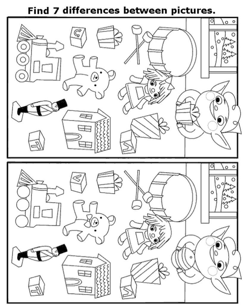 Spot 7 Differences Toys Coloring Page