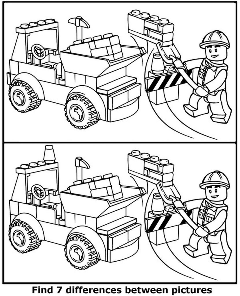 Spot 8 Differences Lego City Coloring Page