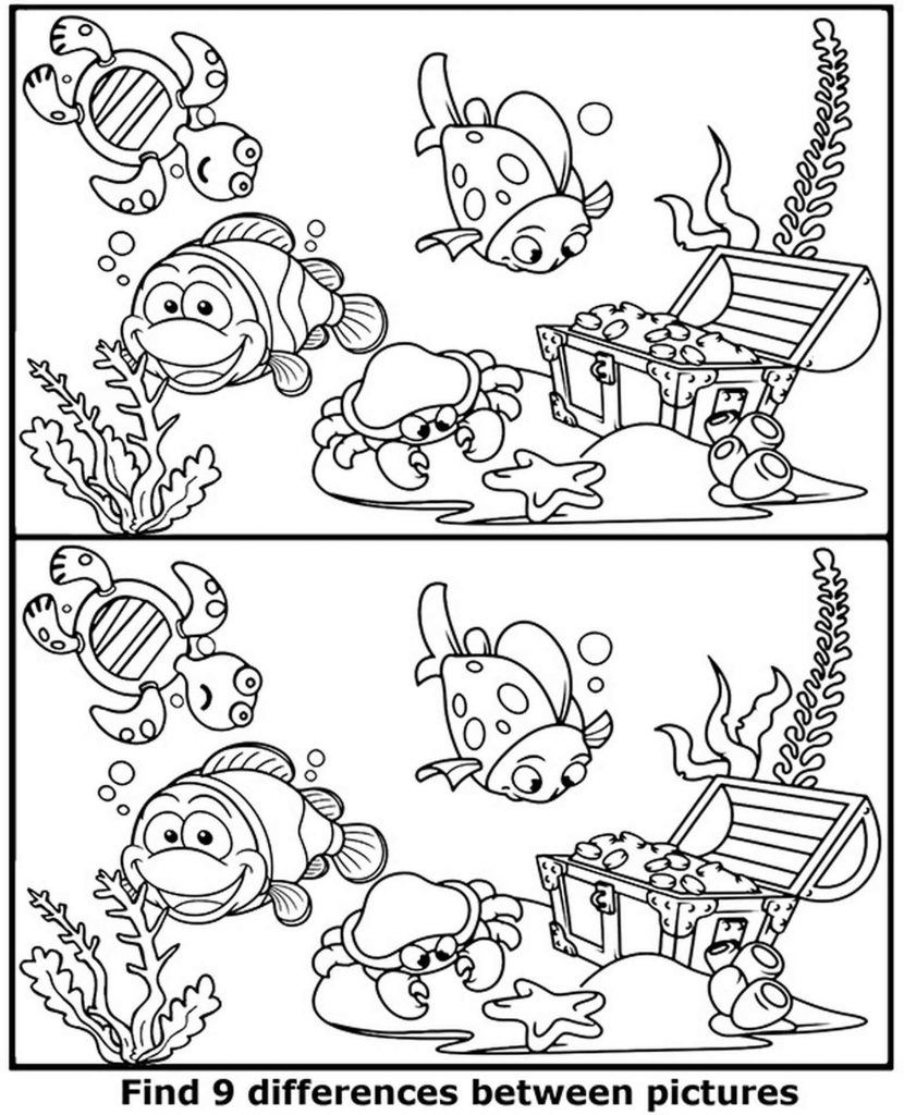 Spot 9 Differences Sea World Coloring Page