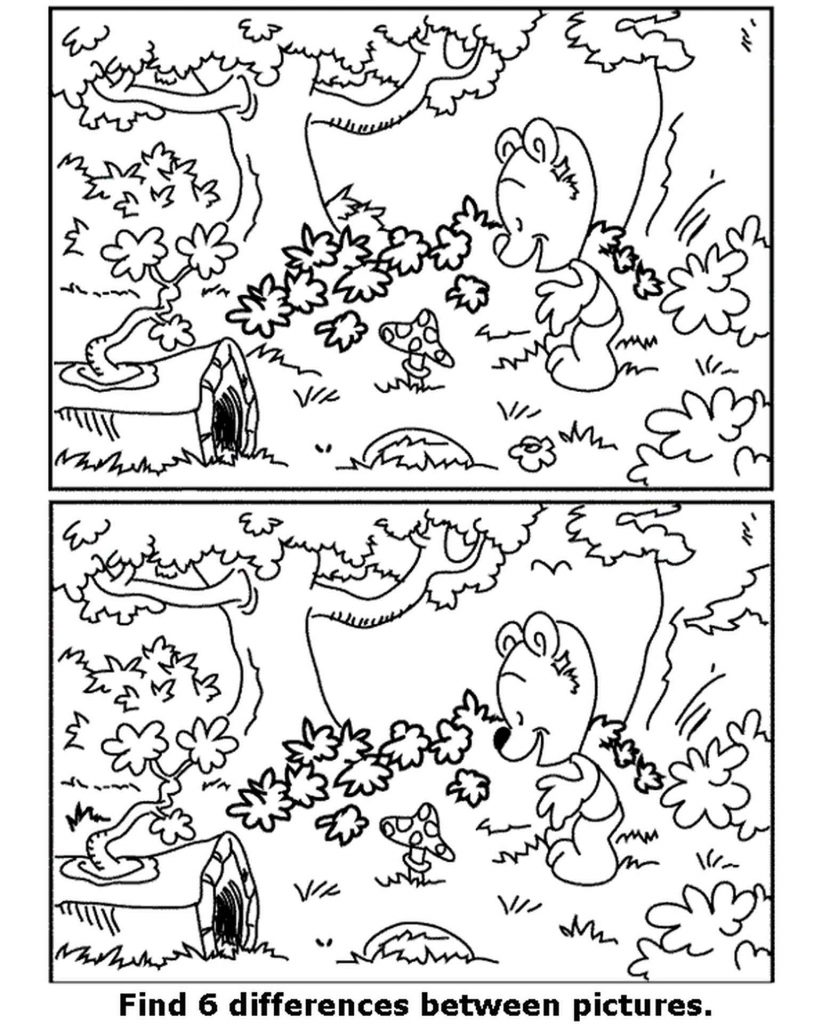 Spot The Difference Bear Coloring Page