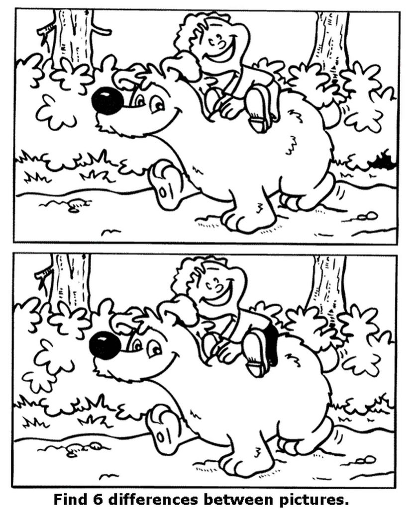 Spot The Difference Kid And Bear Coloring Page