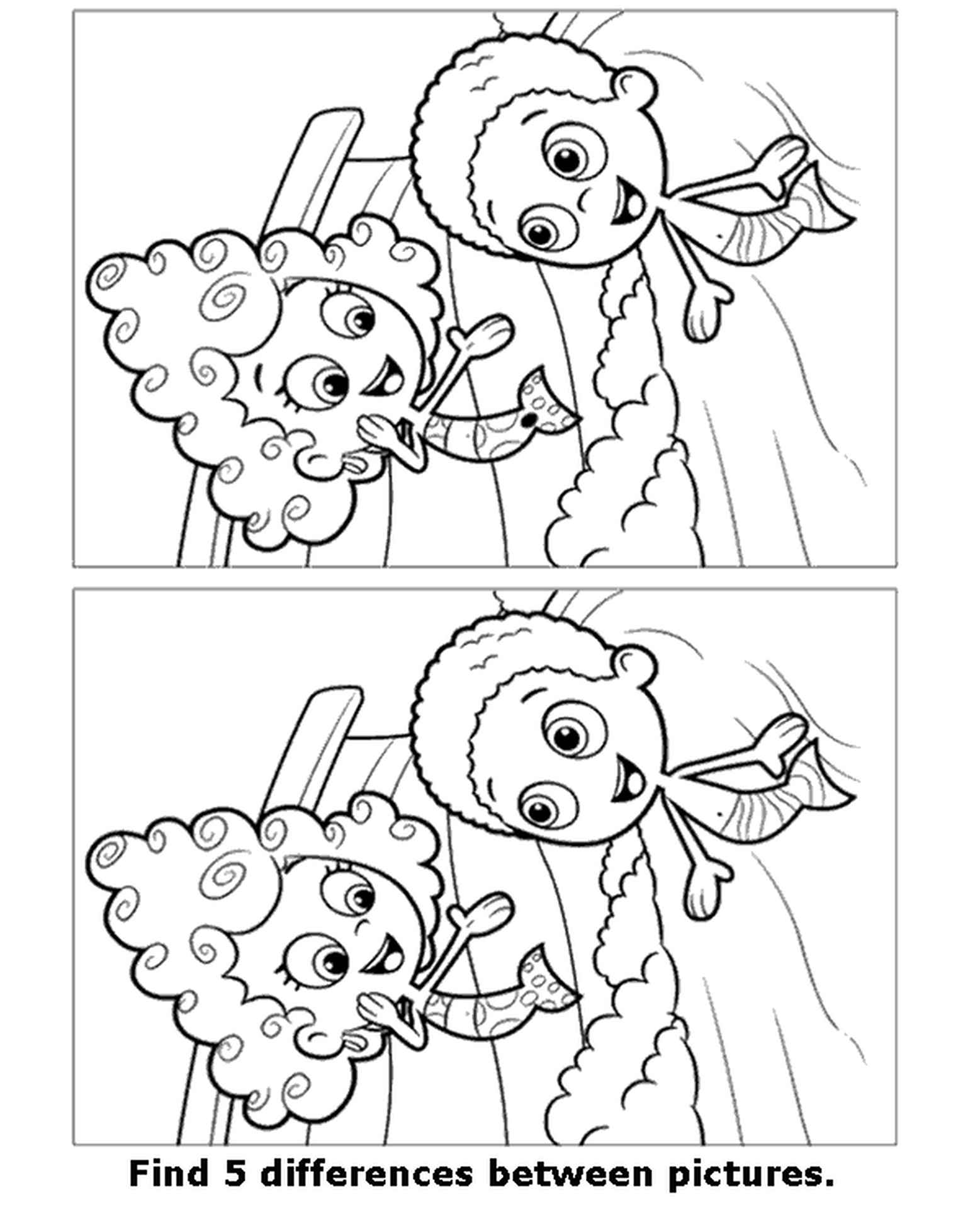 Spot The Difference Mermaids Coloring Page