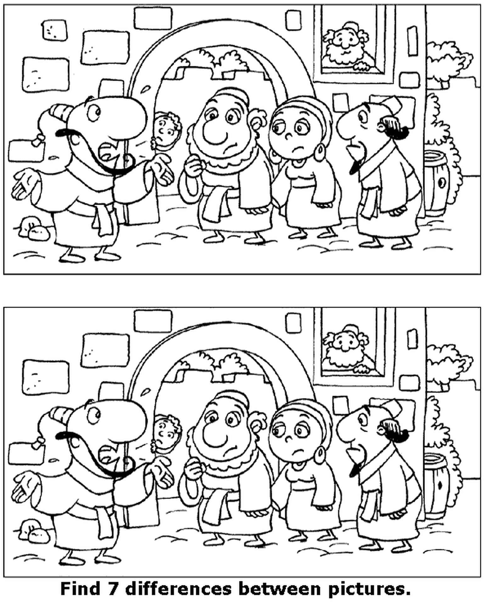 Spot The Difference Old City Coloring Page