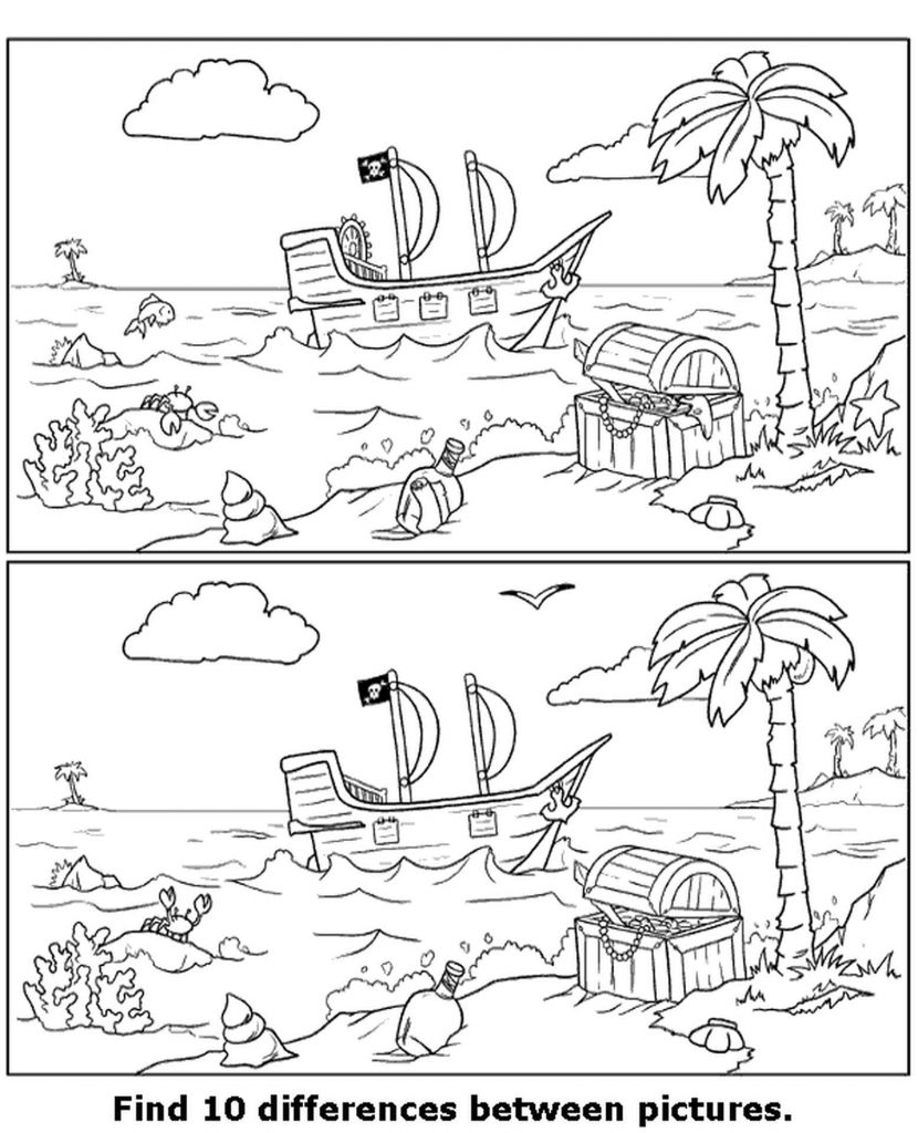 Spot The Difference Pirate Ship Coloring Page