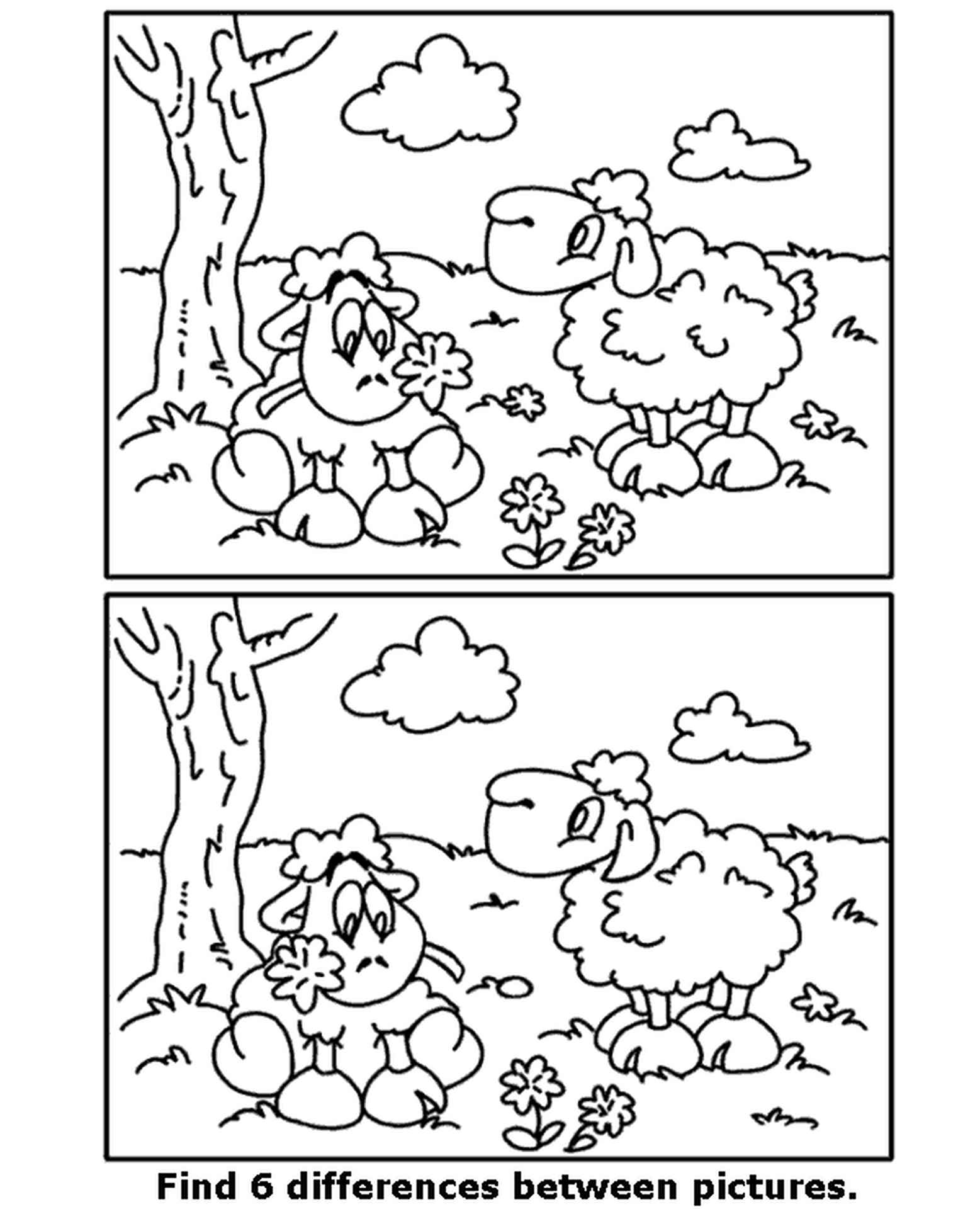 Spot The Difference Sheep Coloring Page