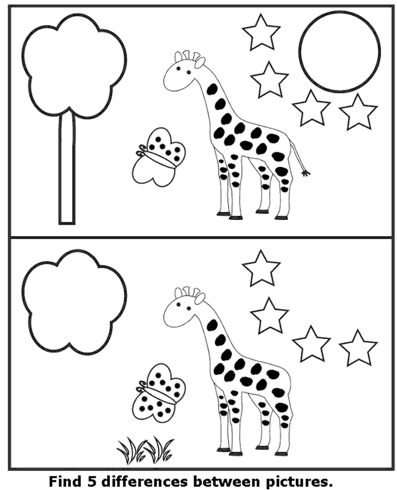Spot The Difference Simple Coloring Page
