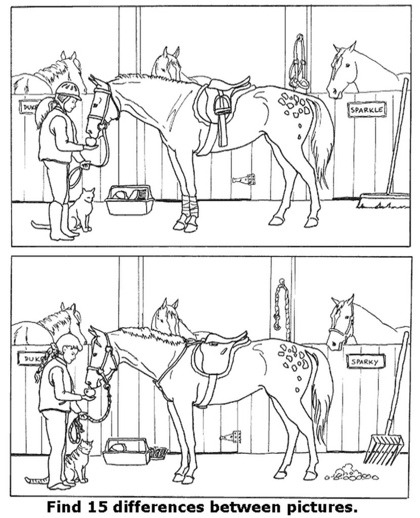 Spot The Difference Stable Coloring Page