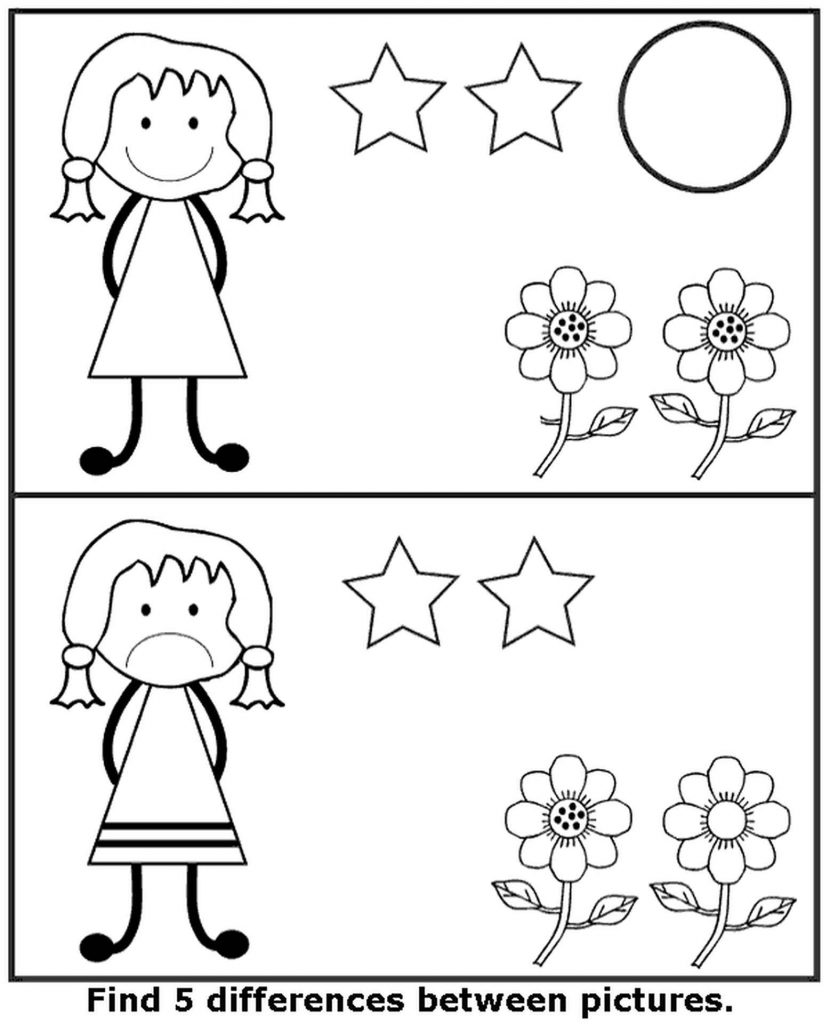Spot The Difference Stars Coloring Page