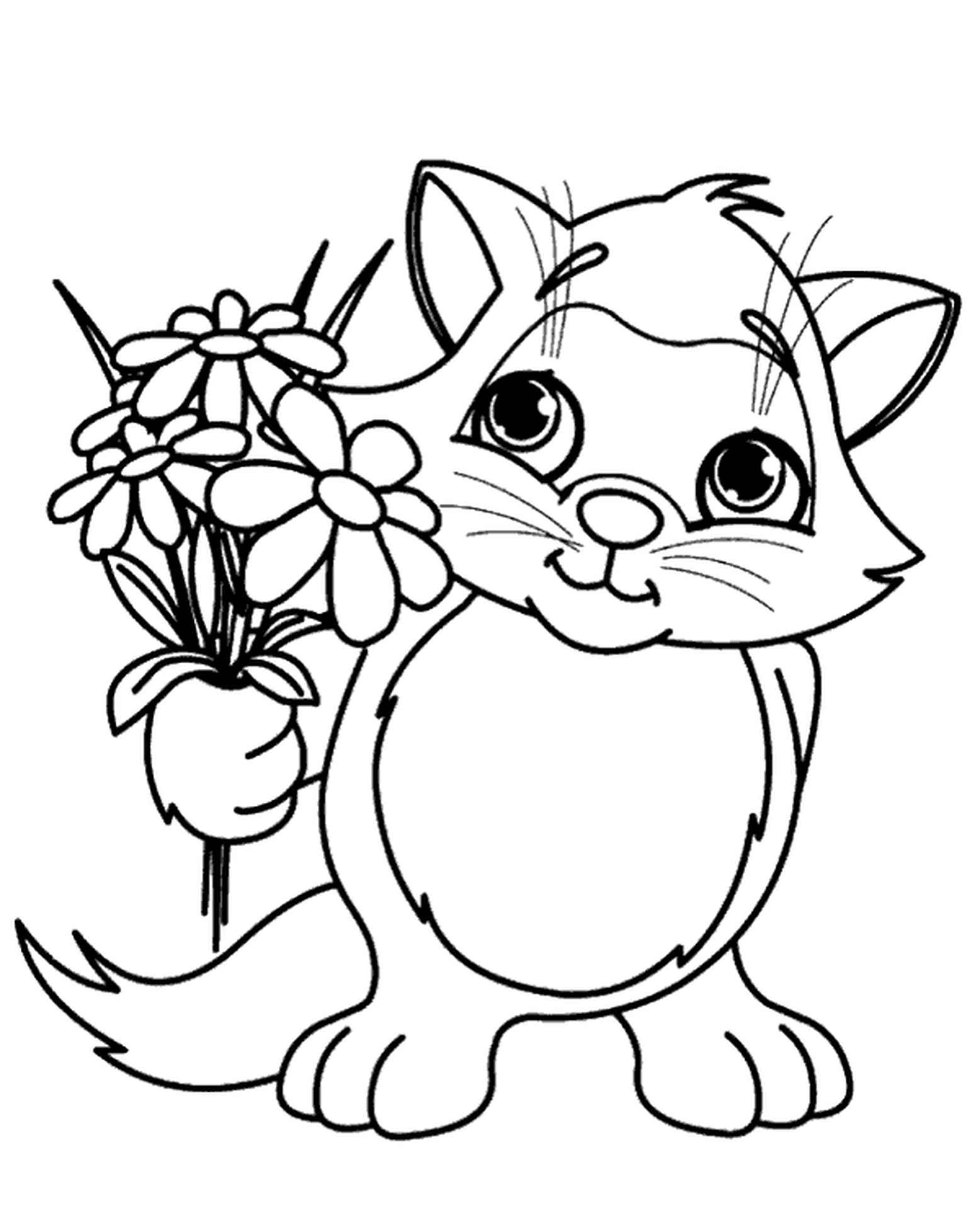 Spring Coloring Page Cat And Flowers