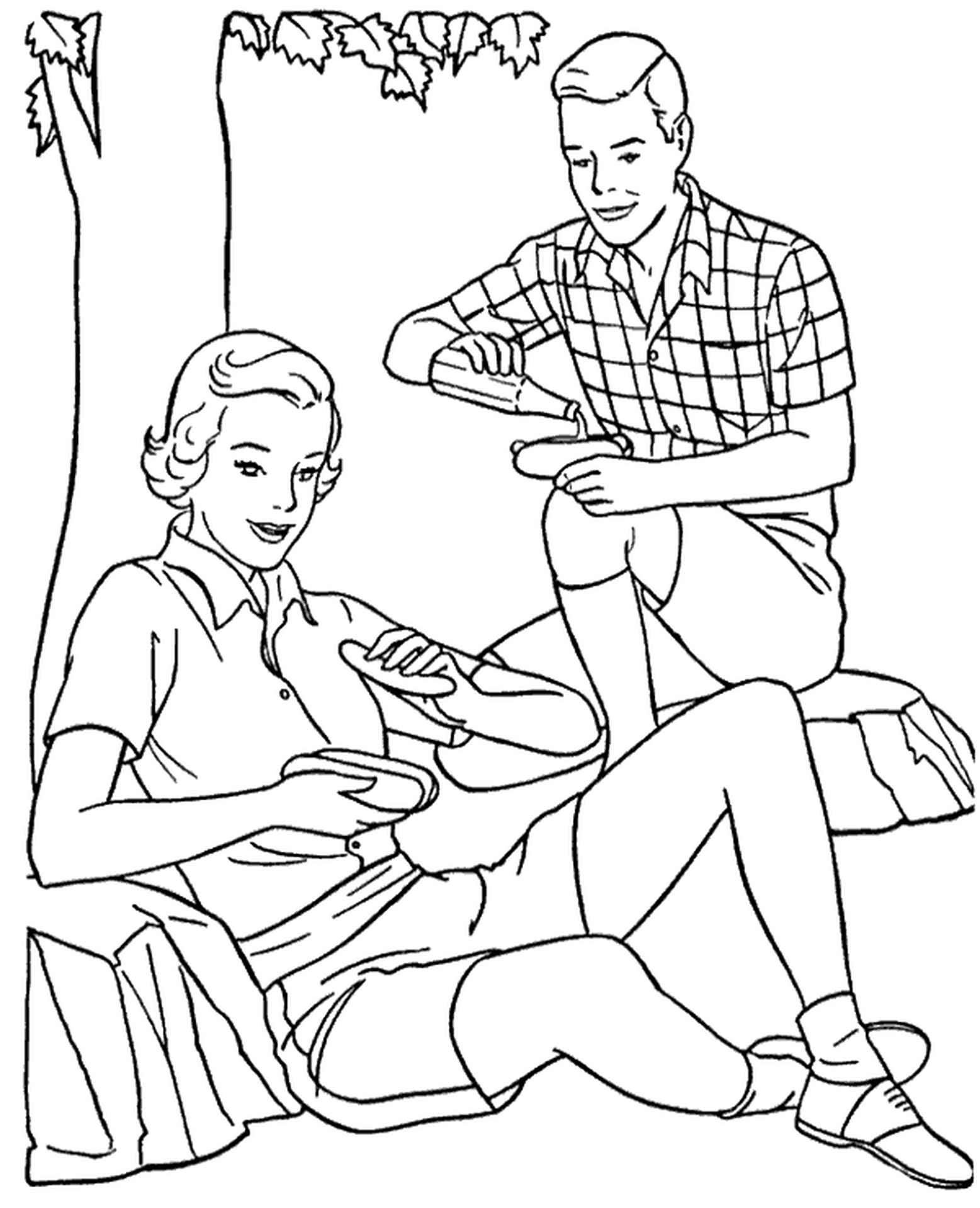 Spring Coloring Pages Picnic Outside