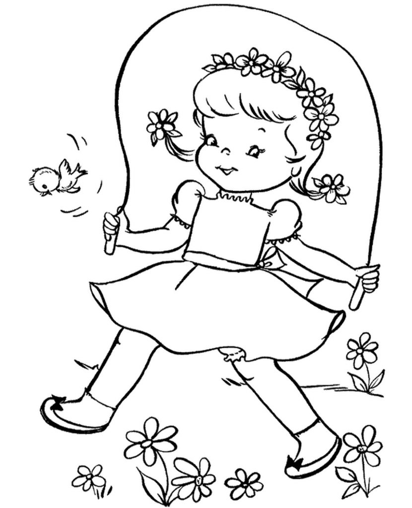 Spring Coloring Picture Jumping Rope