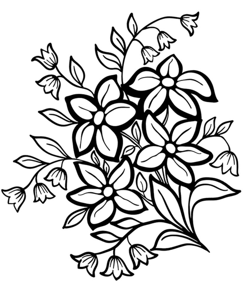 Spring Flowers In The Garden Coloring Pages