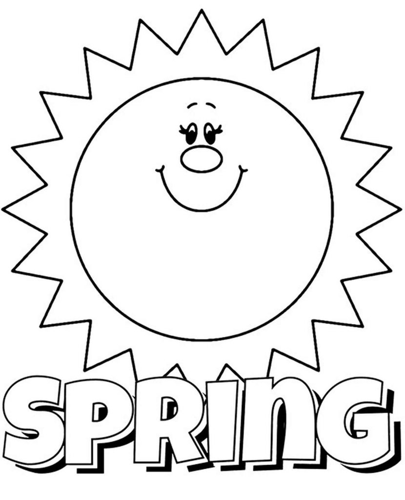 Spring Logo And Sun Coloring Page