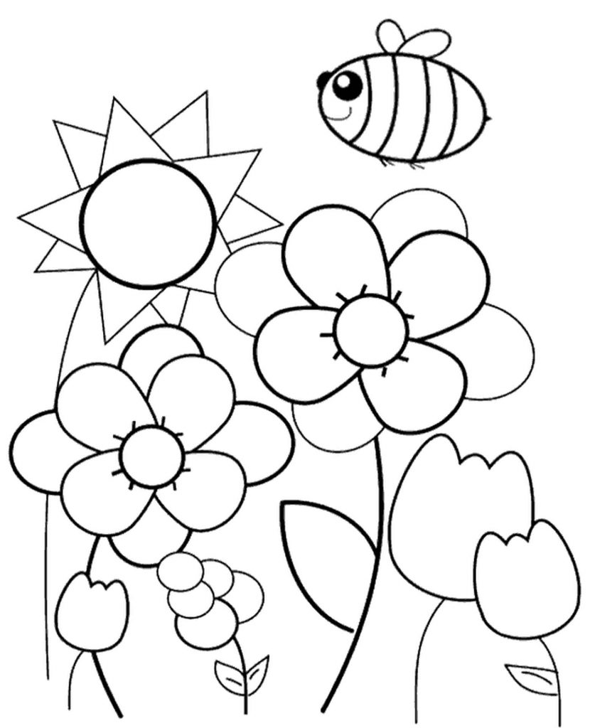 Spring, Meadow, Bee Coloring Page
