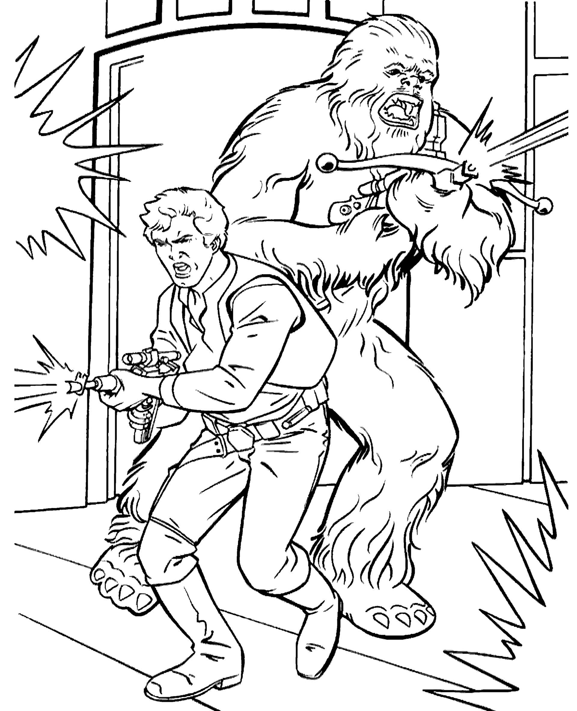 Star Wars Chewbacca And Han Solo Attack Coloring Page