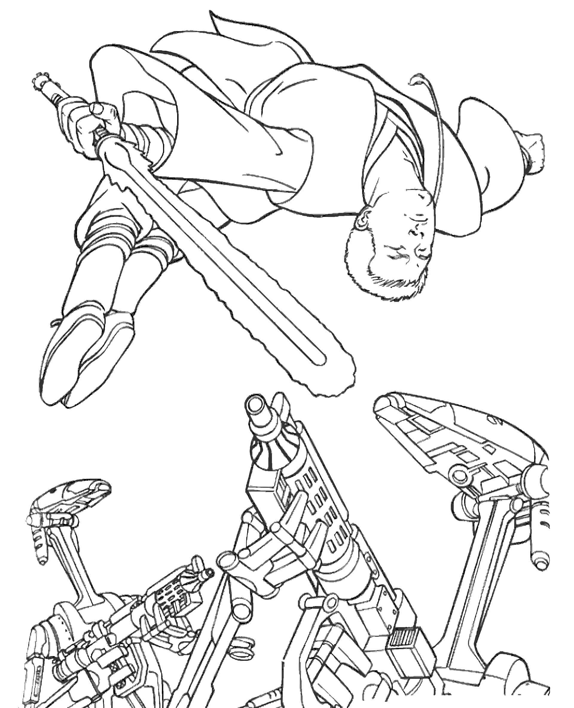 Star Wars Luke Leaves The Robots Coloring Page
