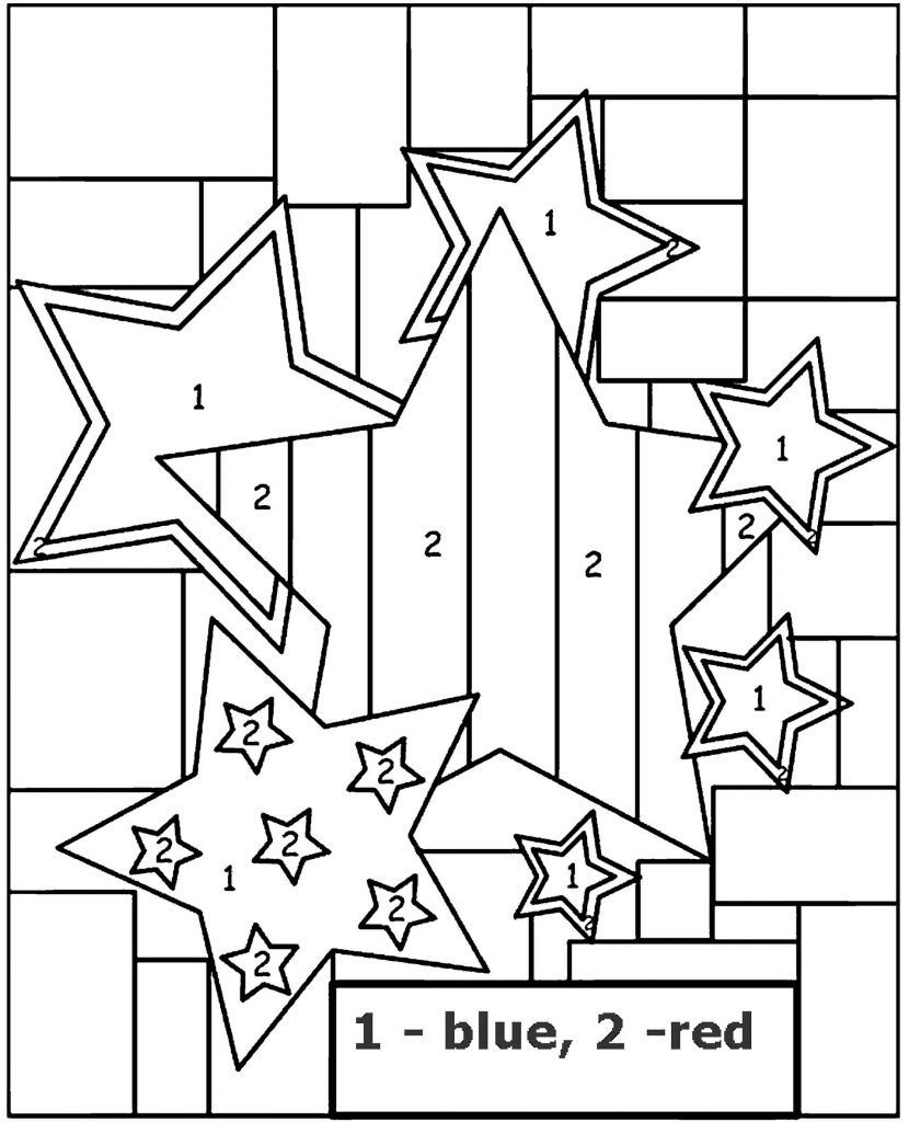 Stars Color By Number Coloring Page