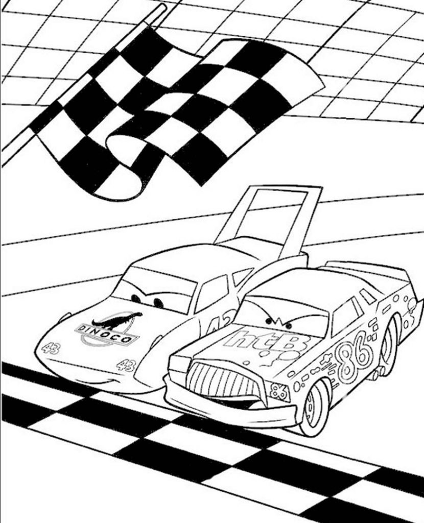 Start Races From Cars Coloring Page