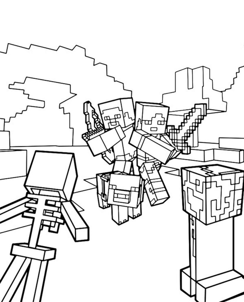 Steve, Alex And Their Pig Are Being Stolen From A Creeper And A Skeleton In Minecraft Coloring Sheet