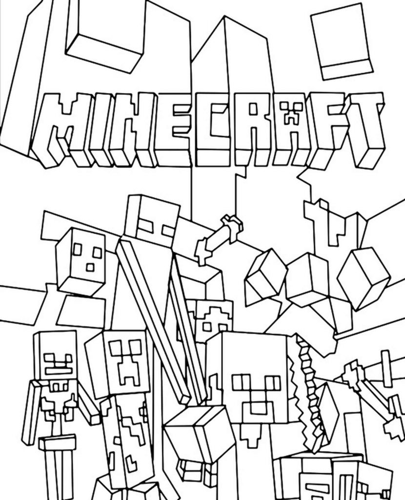 Steve And Other Mobs For Minecraft Coloring Page