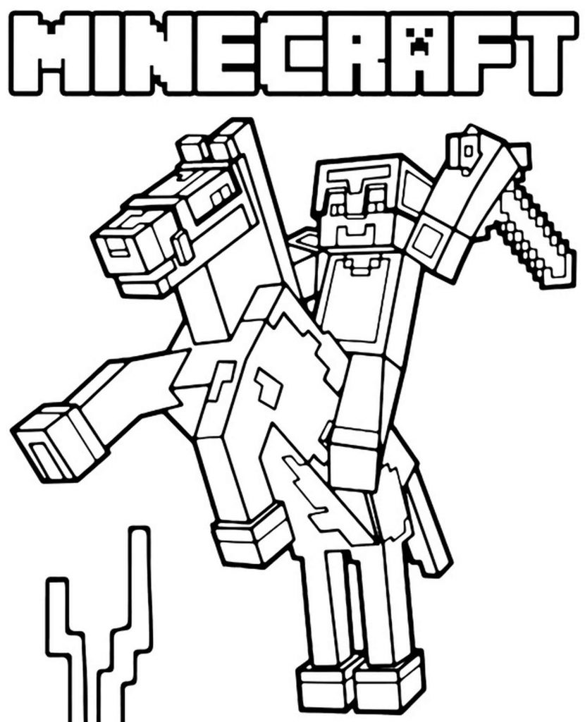 Steve Riding A Horse In Minecraft Coloring Page