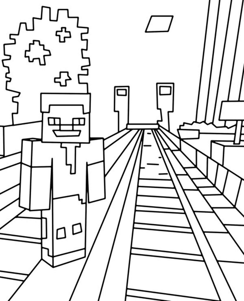 Steve Standing At The Station And Waiting For The Trolley Coloring Page