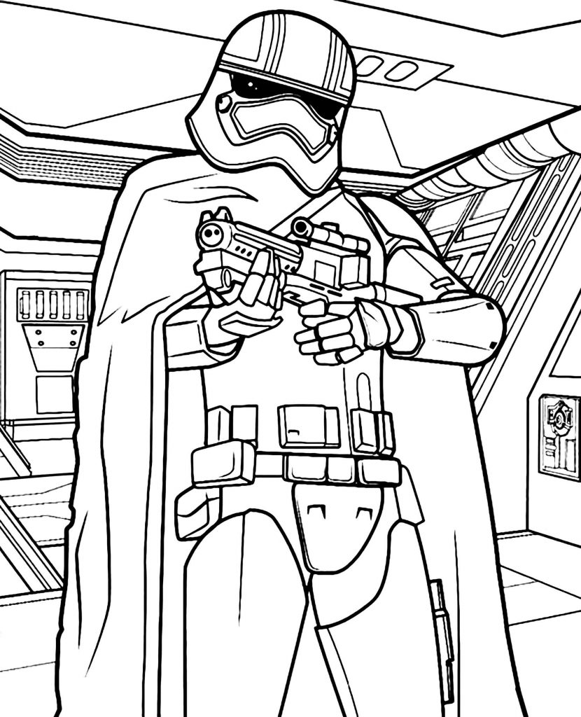 Stormtrooper From Star Wars With Weapons Coloring Page