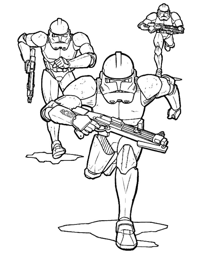 Stormtroopers From Star Wars With Weapons Flee Coloring Page