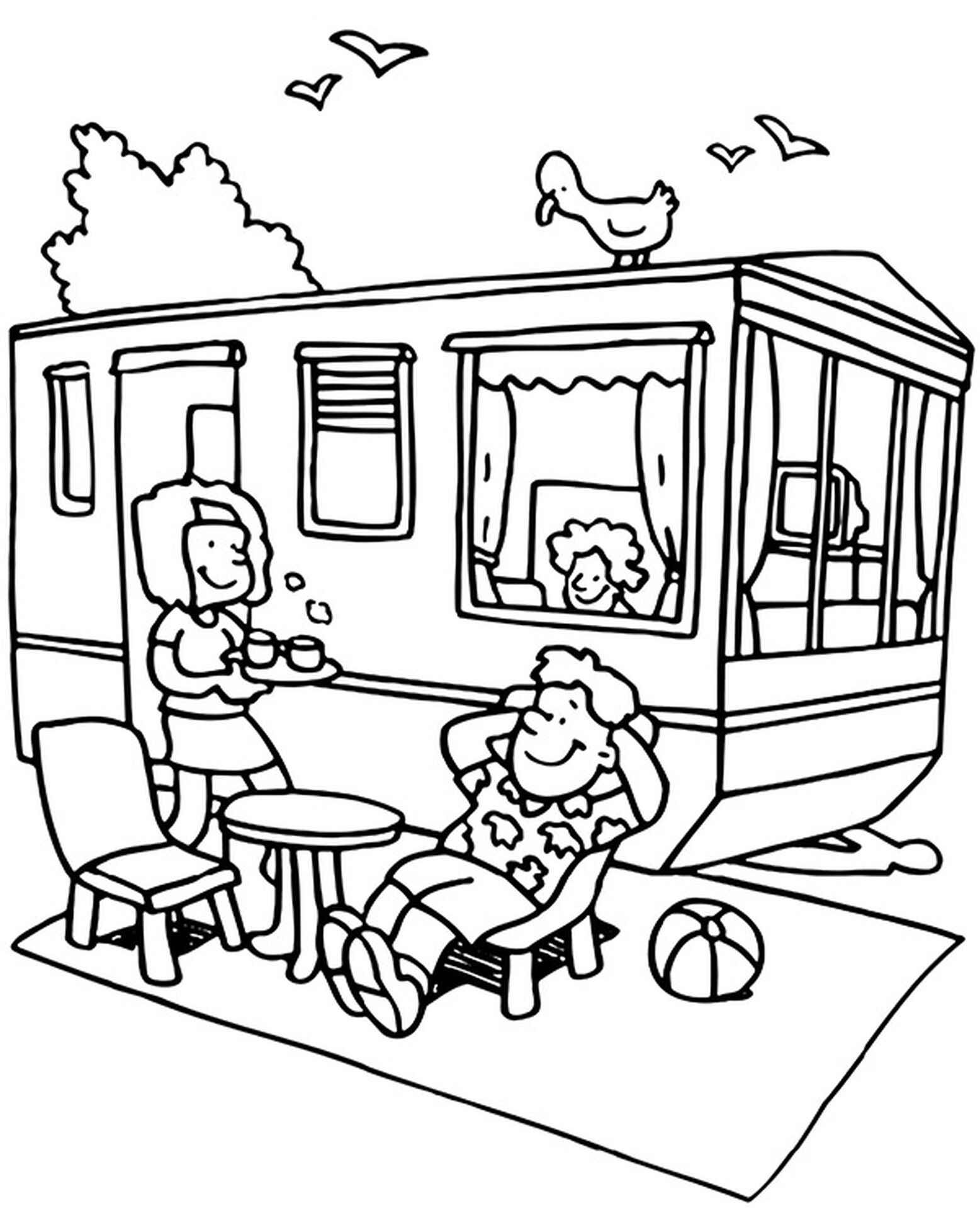 Summer Camping Coloring Picture