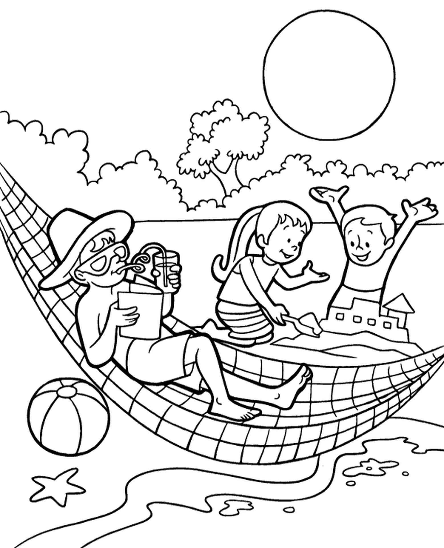Summer Fun Coloring Page For Kids