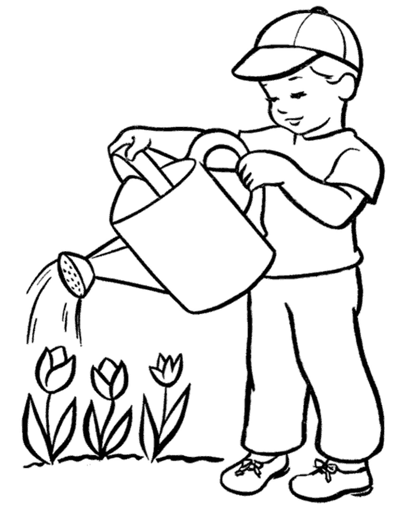 Summer Watering Tulips Coloring Picture