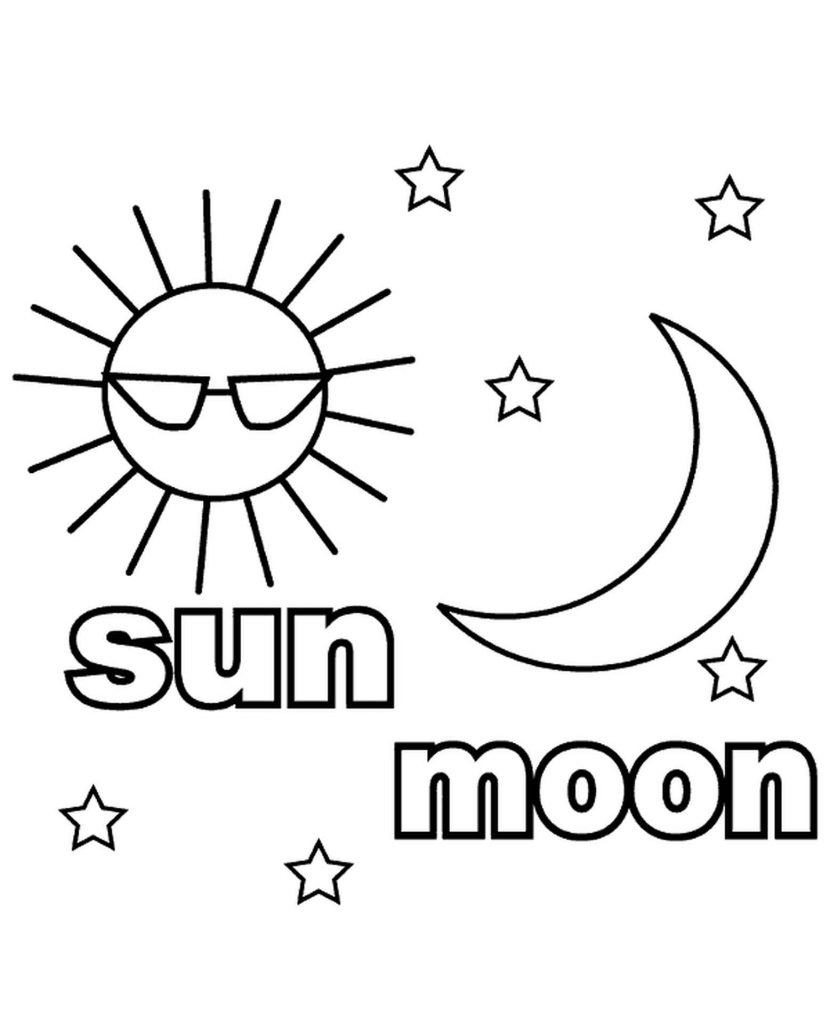 Sun And Moon Coloring Page For Kids