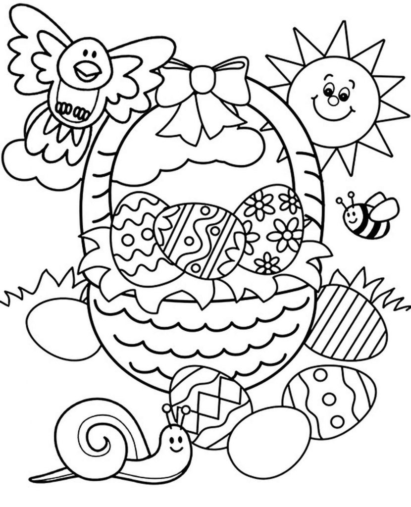 Sun, Bird, Snail With A Basket Of Easter Eggs Coloring Page