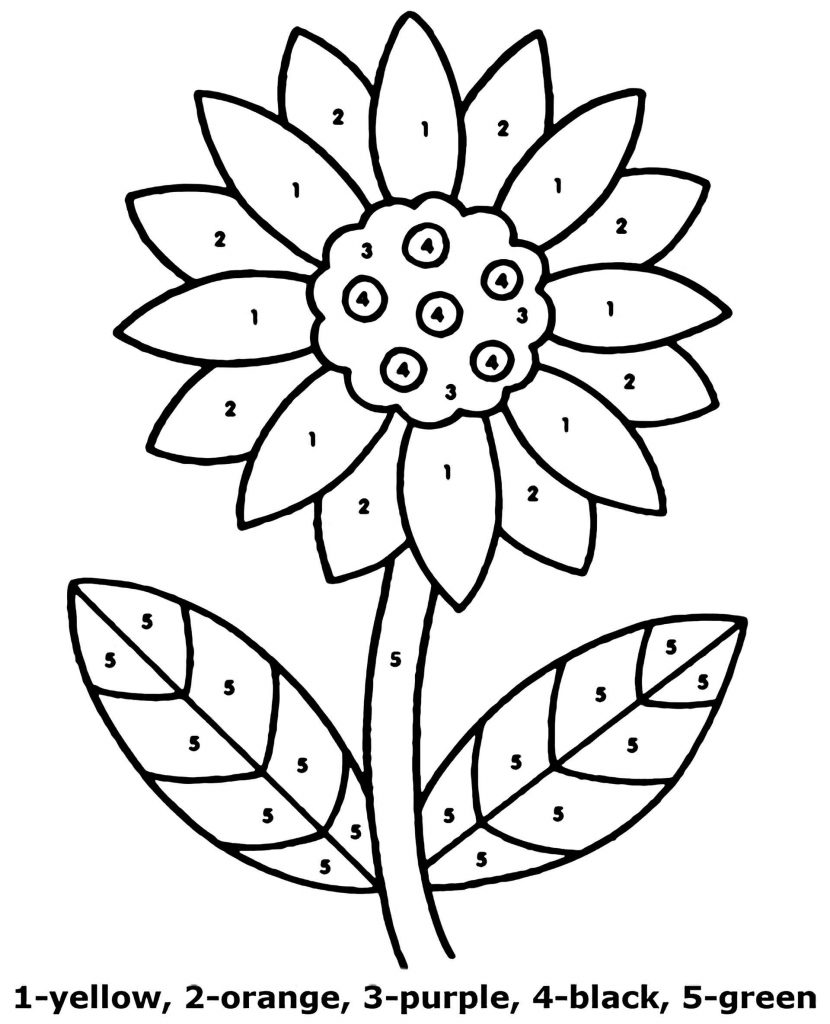 Sunflower Easy Color By Number Coloring Page