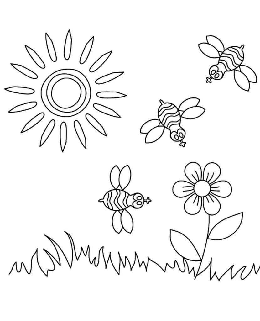Sunny Weather, Coloring Page For Children