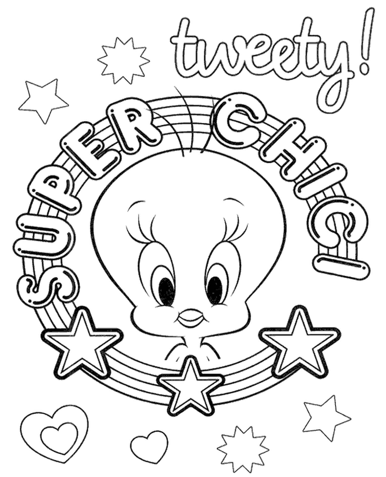 Super Chic Tweety Coloring Page