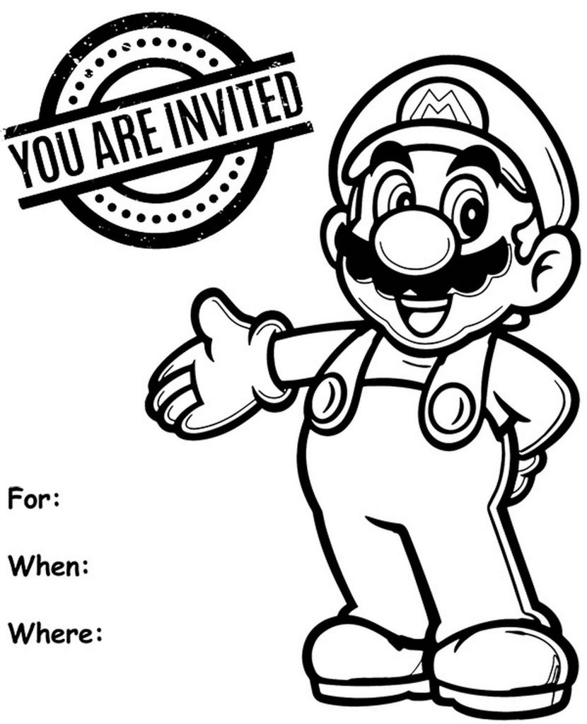 Super Marion Invitation To A Party Coloring Page