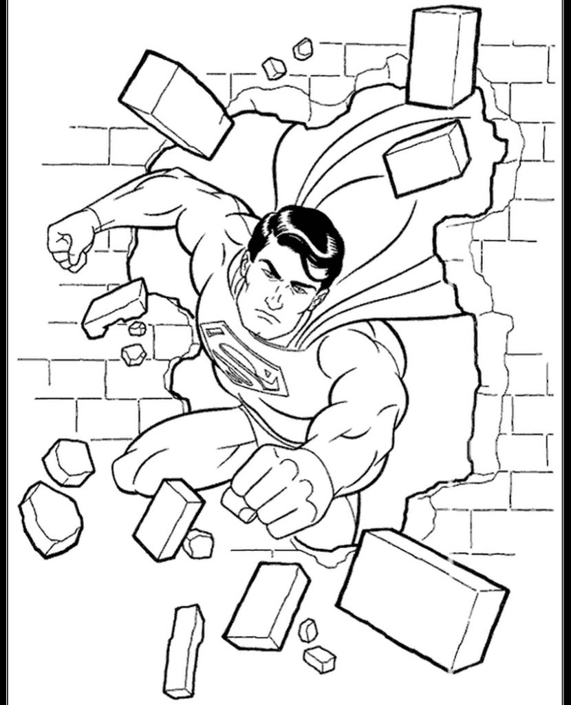 Superman Breaking A Wall Coloring Page