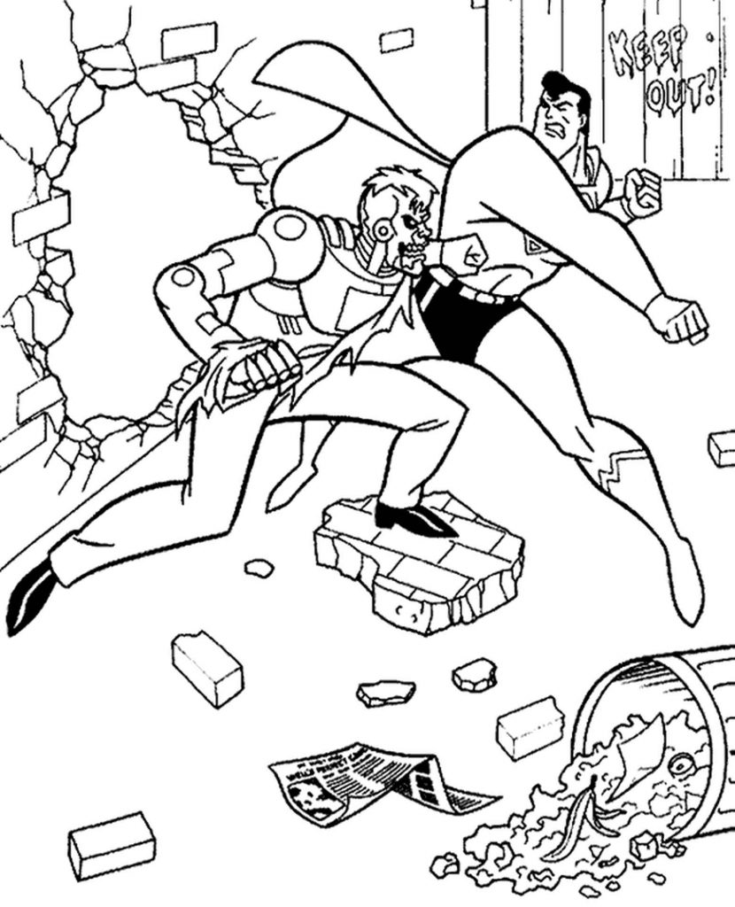 Superman Fight Coloring Picture
