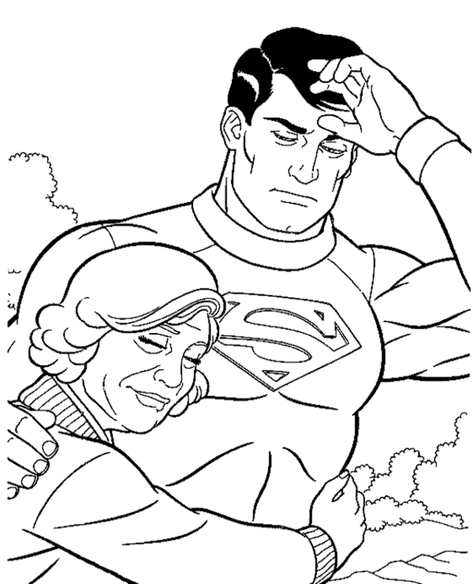 Superman With Grandma Coloring Page