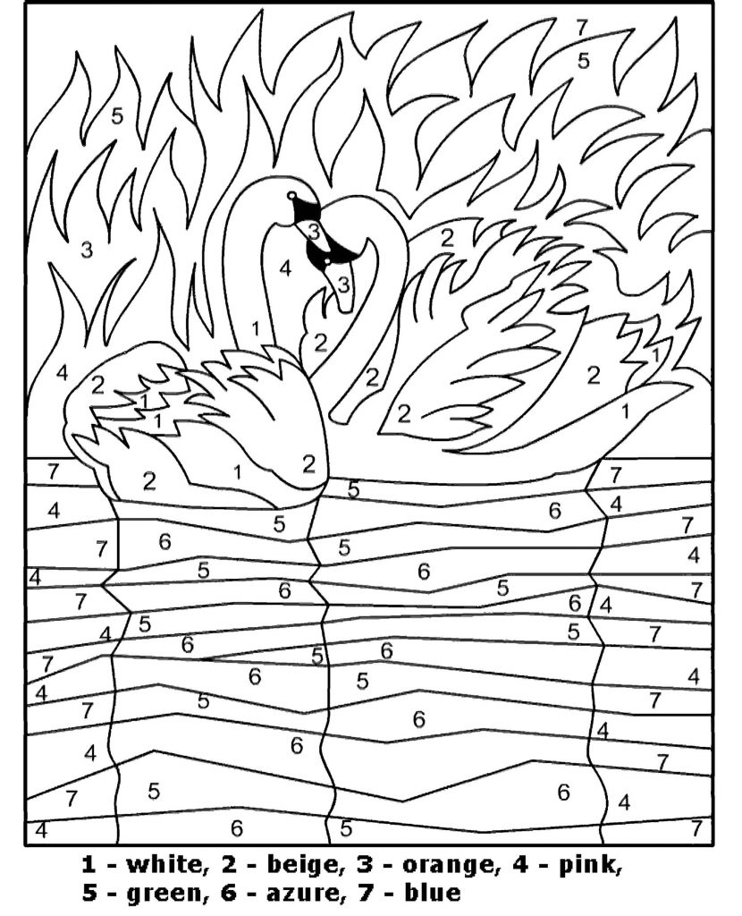 Swans In The Lake Color By Number Coloring Page