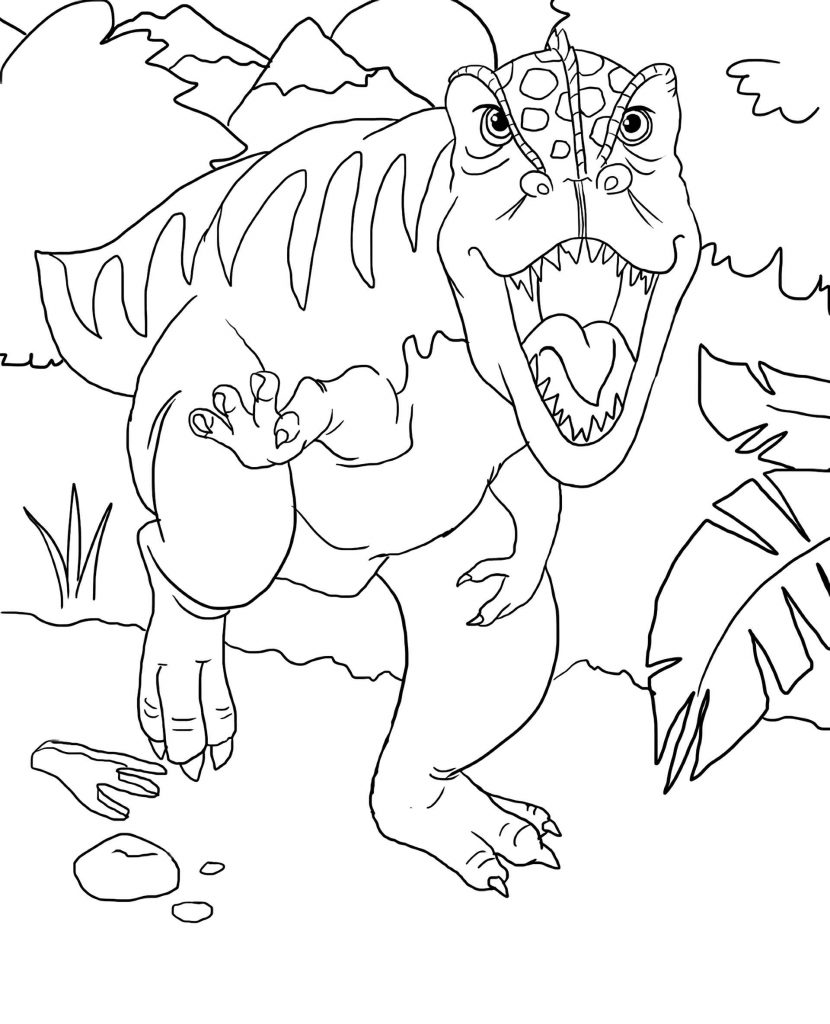 T-Rex Attacking Coloring Page