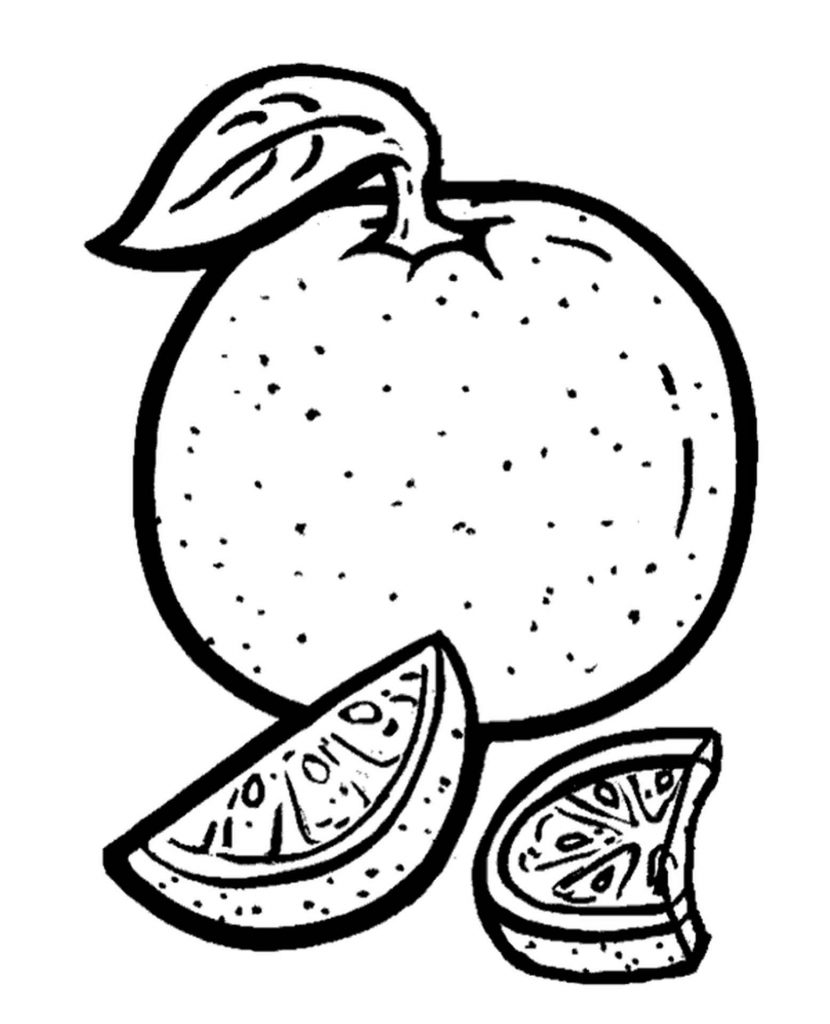 Tangerine With Two Slices Coloring Page