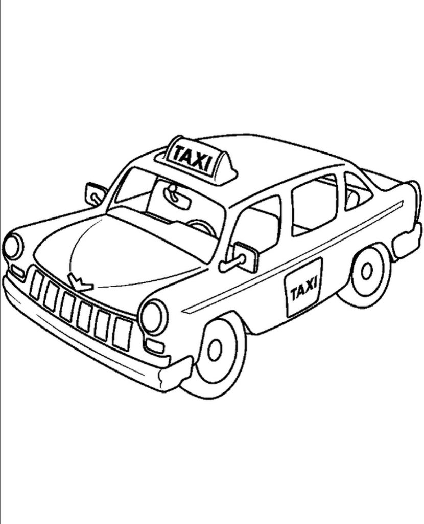 Taxi Cab Coloring Page