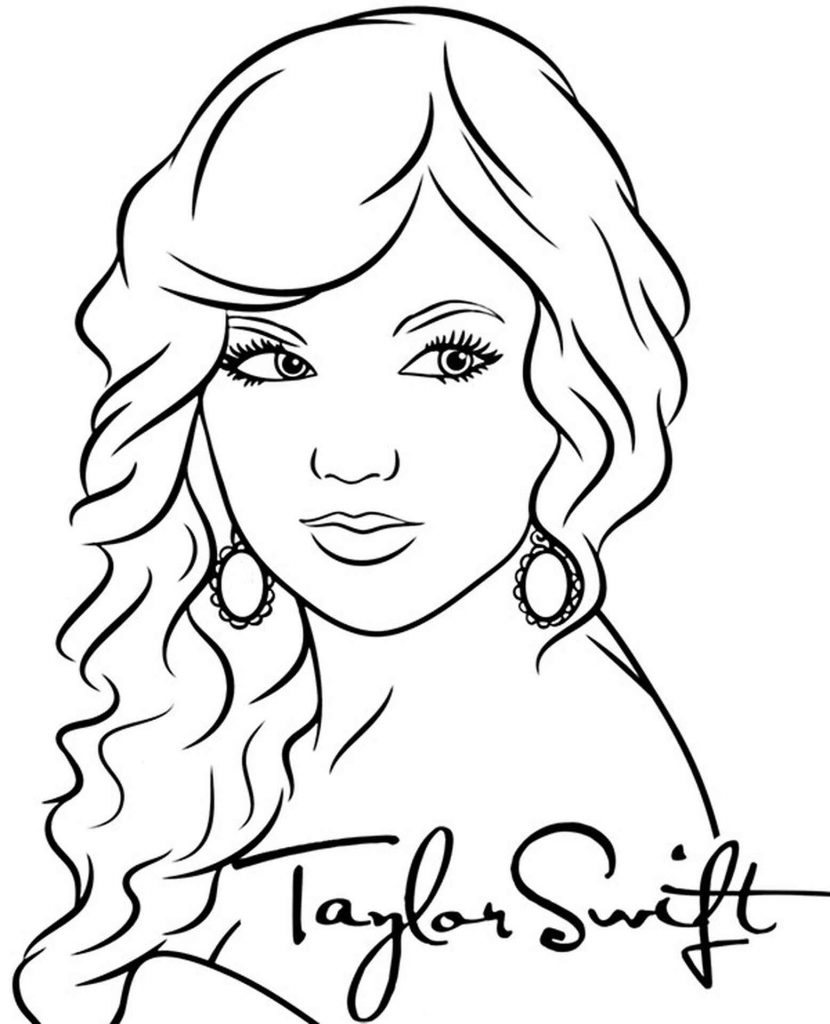 Taylor Swift Singer Coloring Page